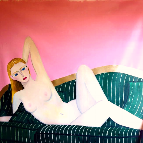 """Seduction In Pink    (out of the series """"Brave and Fearful Women"""" 2015)  Oil and acrylic on canvas  120x120cm"""