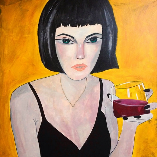 """The Girl Cocktail    (out of the series """"Girls"""" 2016)  Oil and acrylic on canvas  100x100cm"""