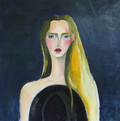 """The Arrival of her Man    (out of the series """"Brave and Fearful Women"""" 2015)  Oil on canvas  100x100cm"""