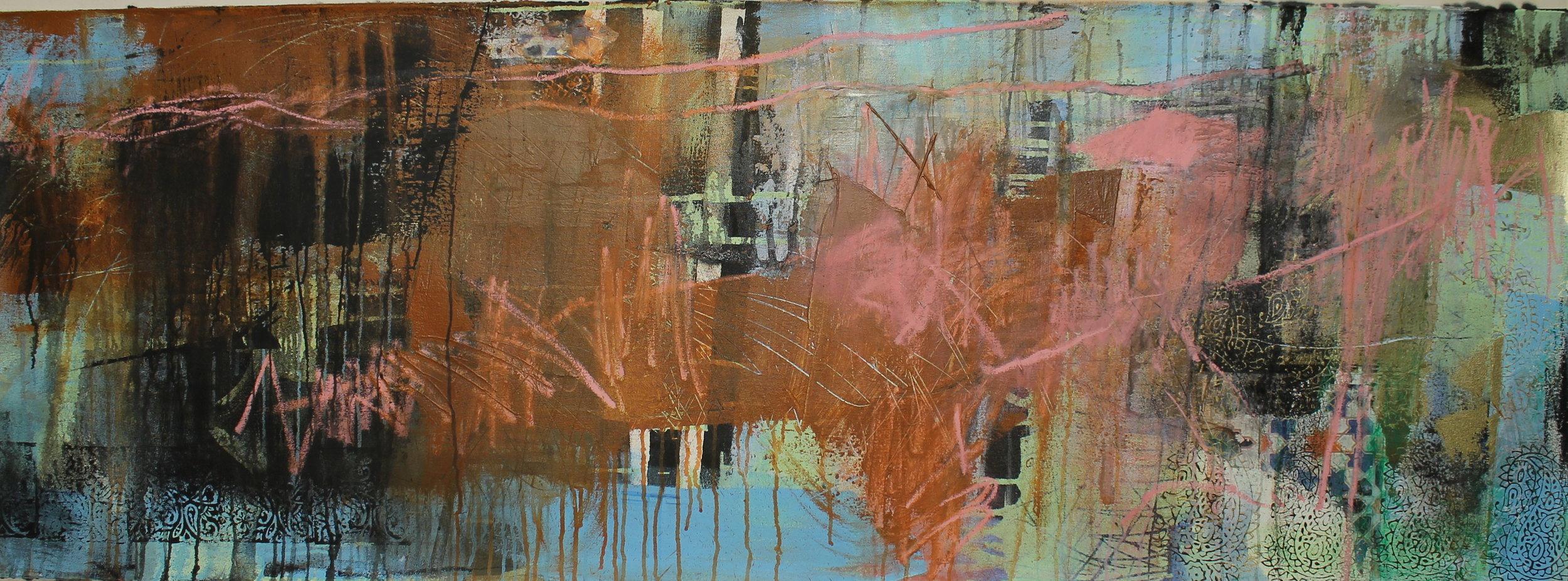 """""""Trans-subjectivity 1"""" 61 x 183cm Oil and acrylic on canvas."""