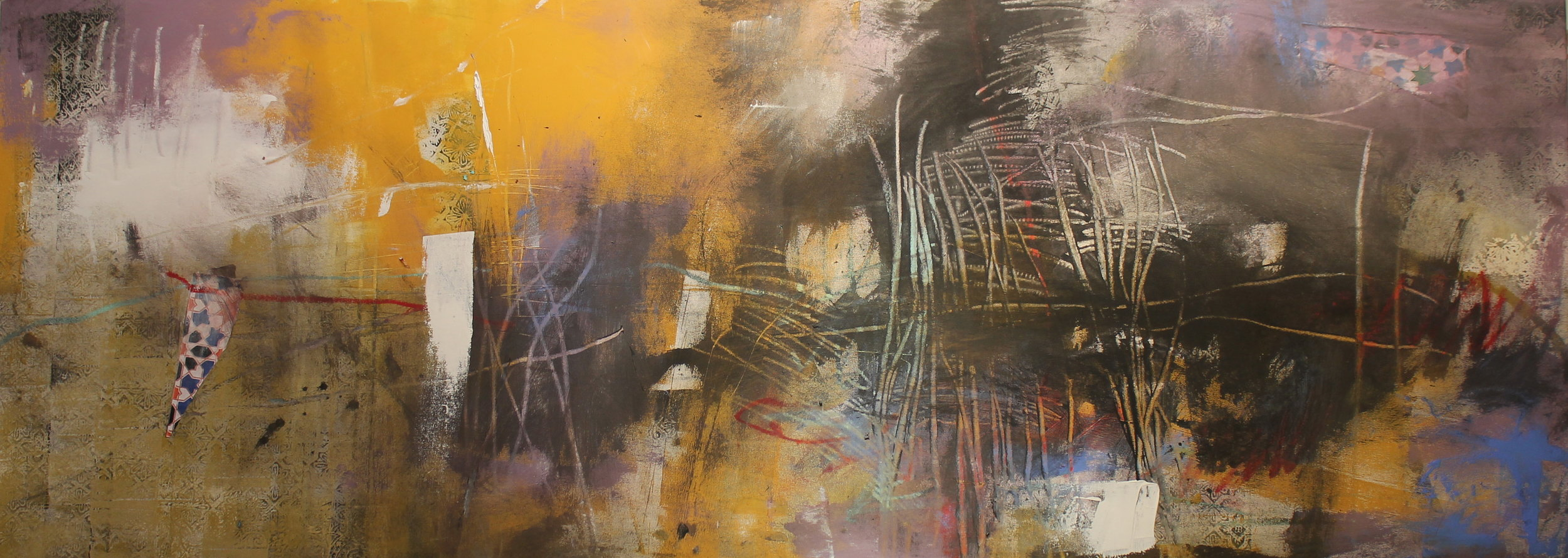 """""""Co-emergence""""   76 x 183cm   Oil, acrylic and collage on canvas"""