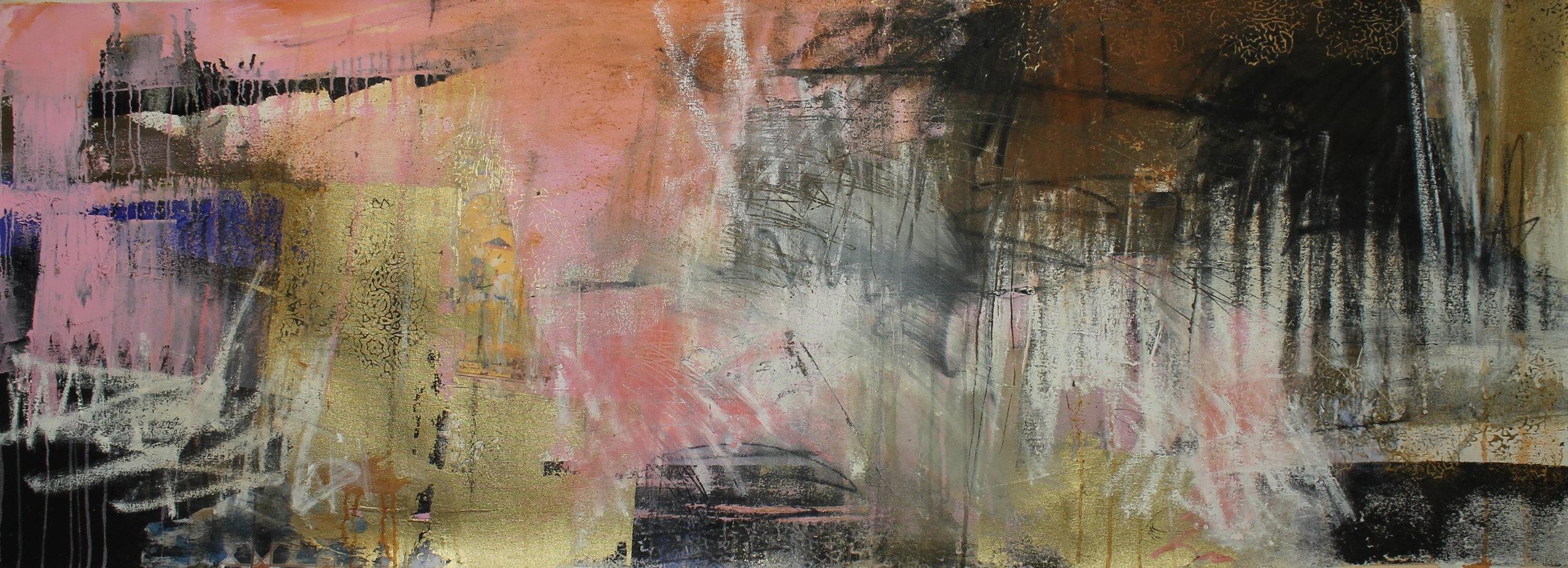 """Waiting""  76 x 183cm  Oil and Acrylic on canvas"