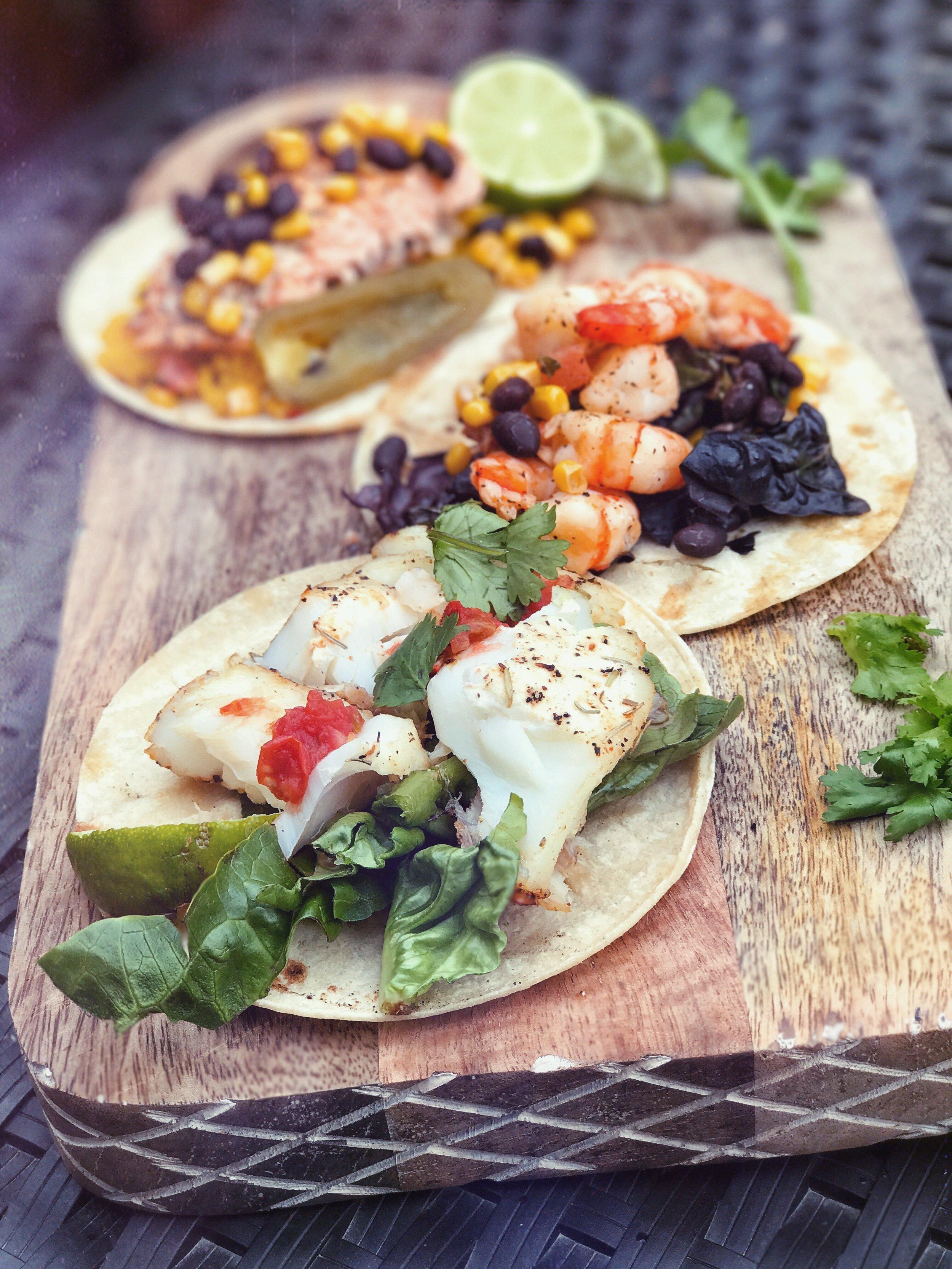 Grilled Seaside Buffet - Shrimp NachosFish TacosStrawberry Limeade Margarita