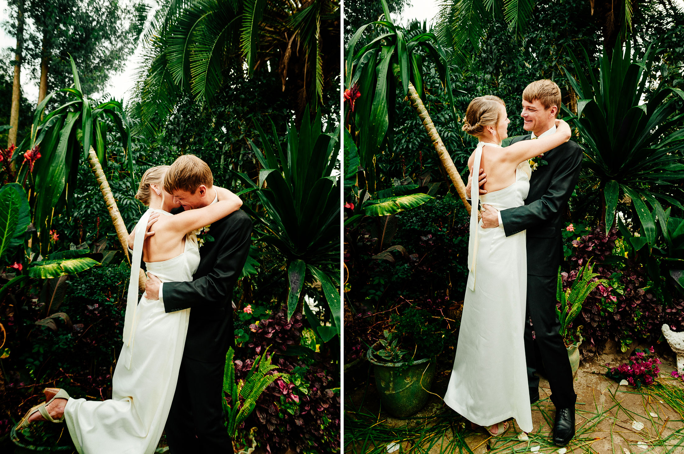 Bride and groom embrace after vows by Arcata wedding photographer Kate Donaldson Photography