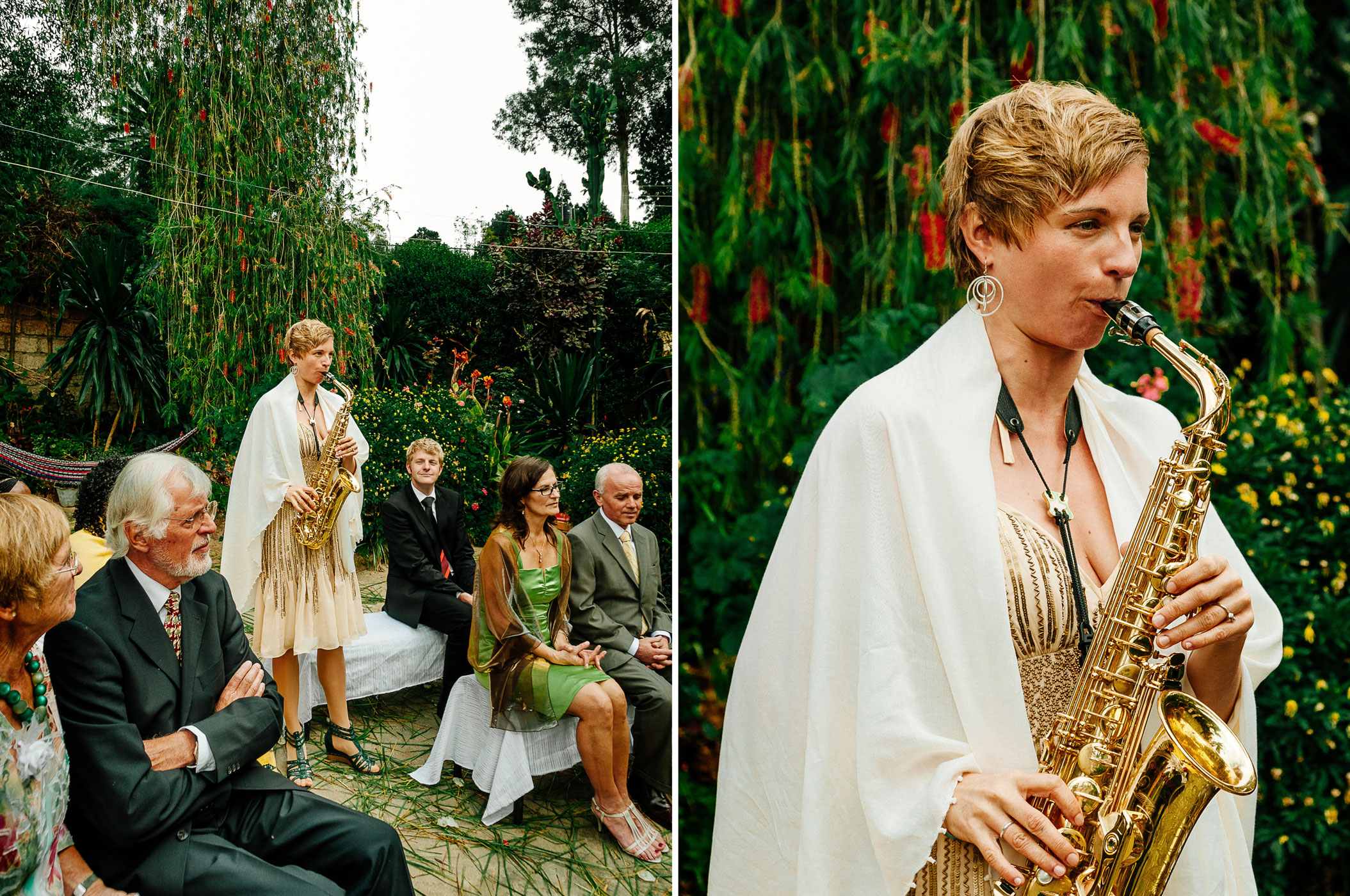 Backyard garden wedding ceremony in Addis Ababa; photographed by Northern California Offbeat Wedding photographer Kate Donaldson Photography.