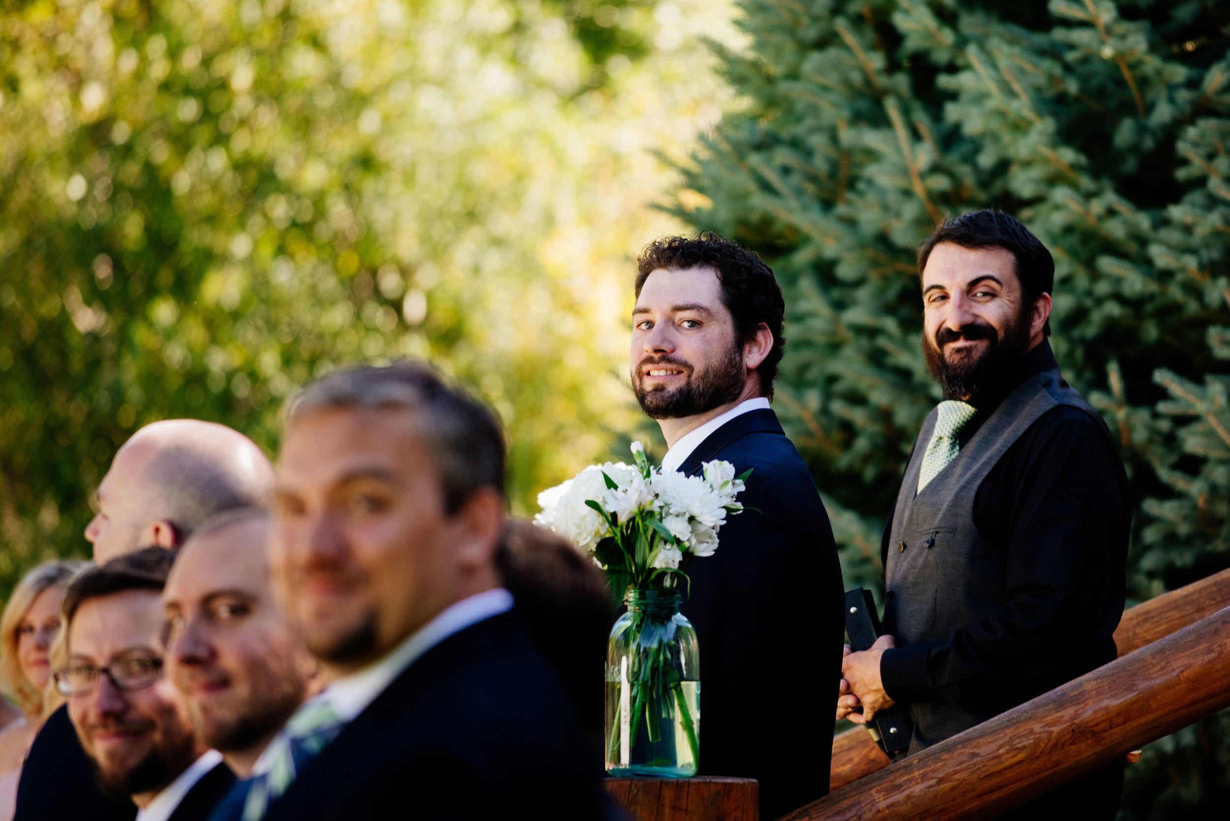Groom Watches Bride ©Humboldt Wedding Photographer Kate Donaldson Photography