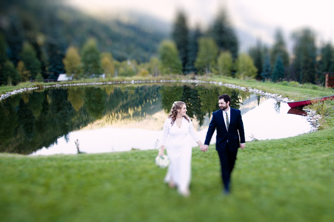 Bride and Groom Portrait by the Pond © Kate Donaldson Photography