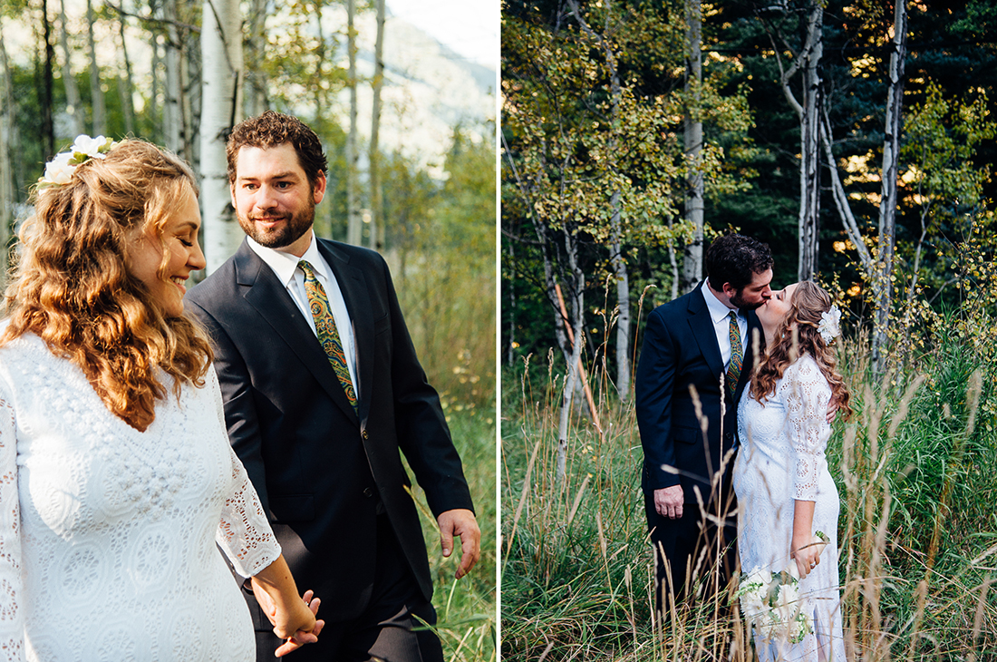 Bride and Groom in the Woods © Humboldt Wedding Photographer Kate Donaldson Photography