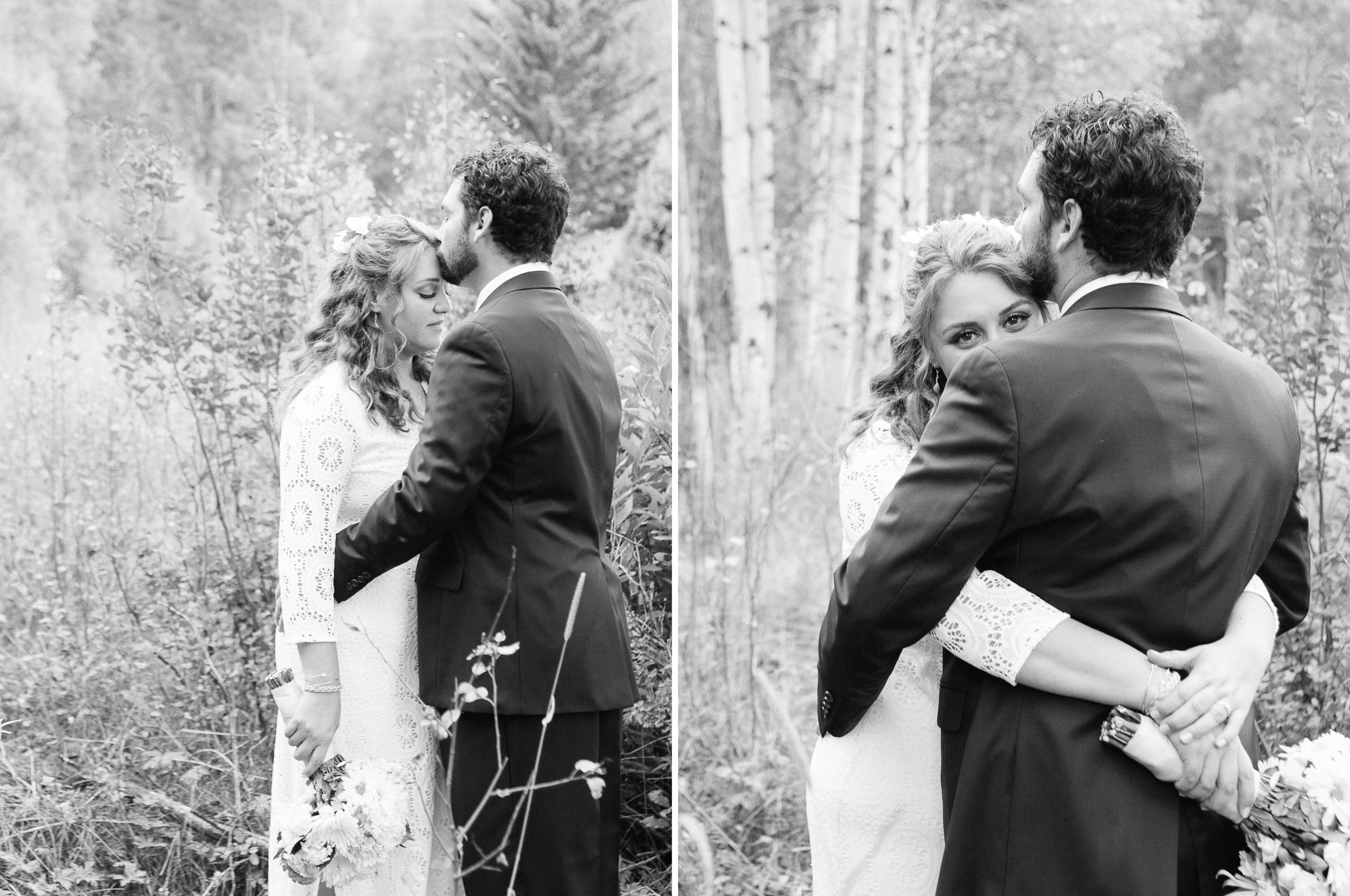 Bride and Groom Portrait in Black and White by Humboldt County Wedding Photographer Kate Donaldson Photography