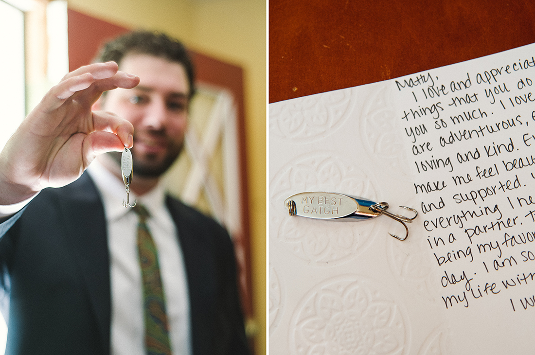 Groom with Gift from Bride © Humboldt Wedding Photographer Kate Donaldson Photography
