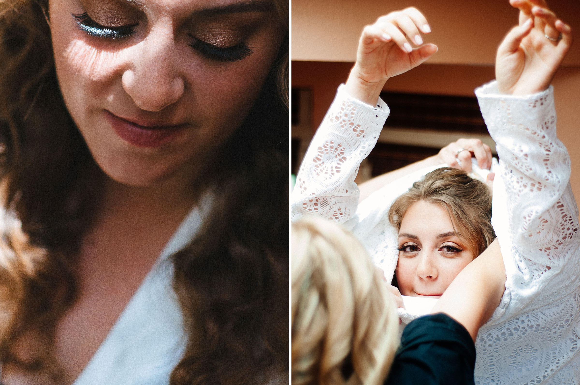 Bride getting dressed for her Colorado mountain wedding by Arcata wedding and portrait photographer Kate Donaldson Photography