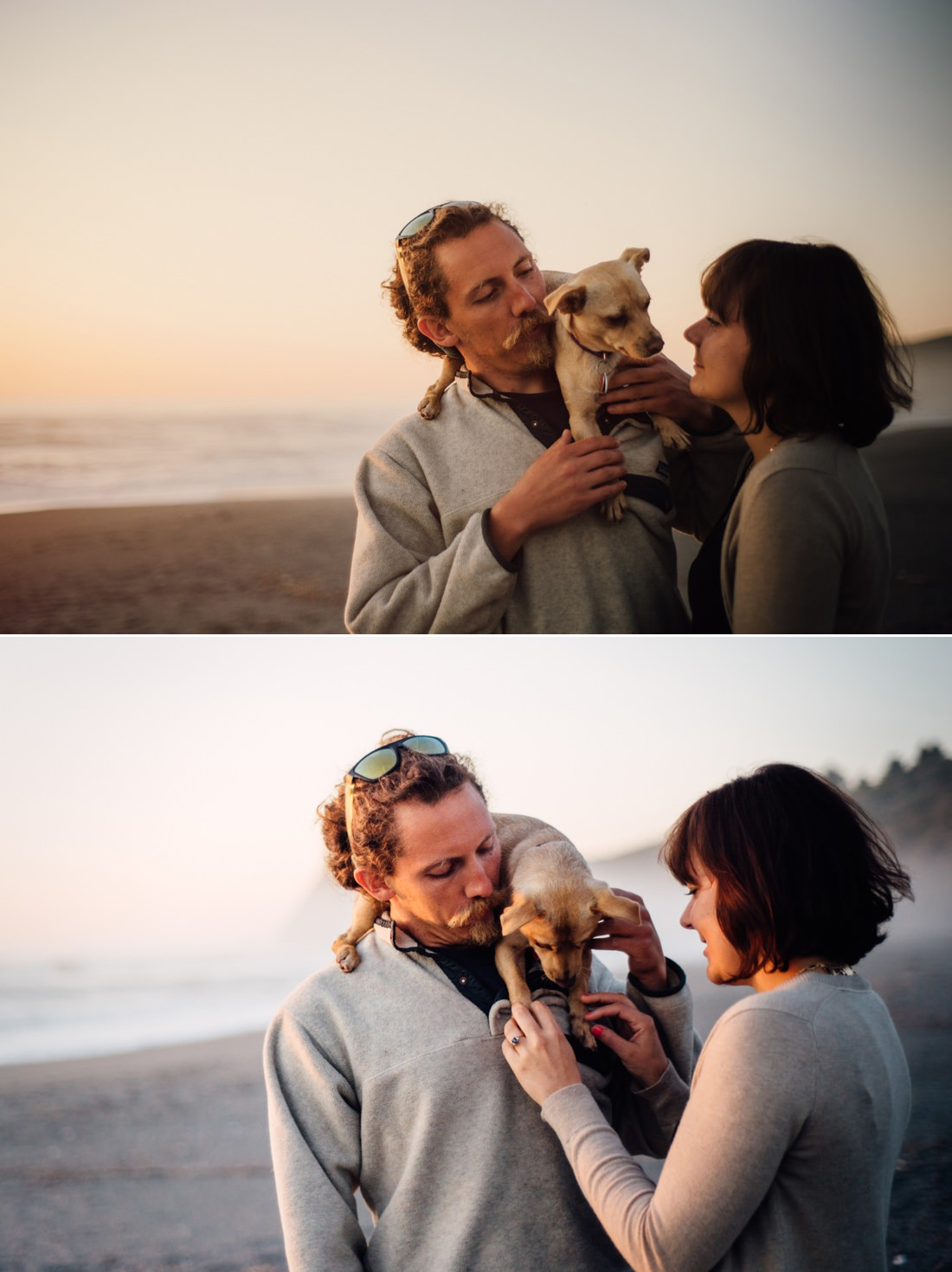 Laid back Trinidad engagement session in Dry Creek - complete with adorable dog. Photographed by Humboldt County Wedding Photographer Kate Donaldson Photography