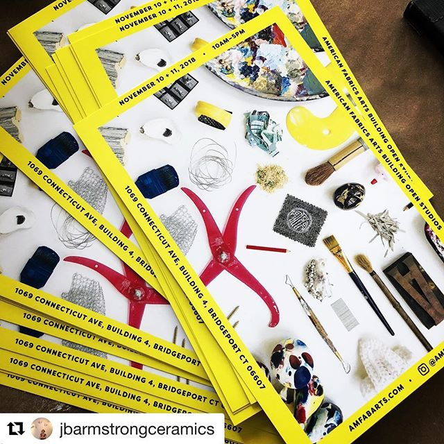 #Repost @jbarmstrongceramics with @get_repost ・・・ Hot off the press! SAVE. THE. DATE. AmFab Open Studios (and my Annual Studio Sale) Sat + Sun, Nov 10 + 11, 10am - 5pm. These fab cards were designed by our own @emilylarned . Grateful for her discerning eye and distinct style. Mark your calendar! #amfabarts #openstudio #bridgeportct #veteransdayweekend #bridgeportarttrail #comeonecomeall