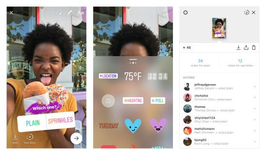 Simply create an Instagram story, swipe up and choose the poll function, customise the options and then the app collates the results for you.