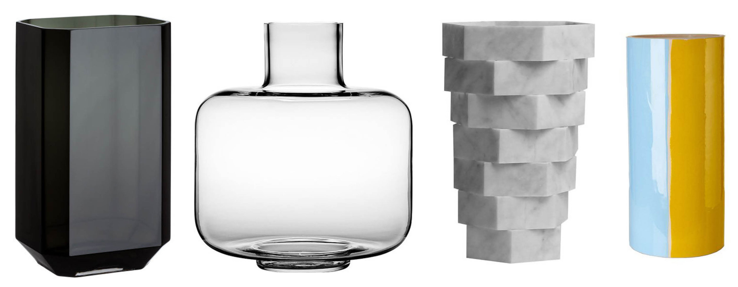 Tall glass vase ,Ming vase, clear,  Little Gerla No4 marble vase , Triple colour glazed vase