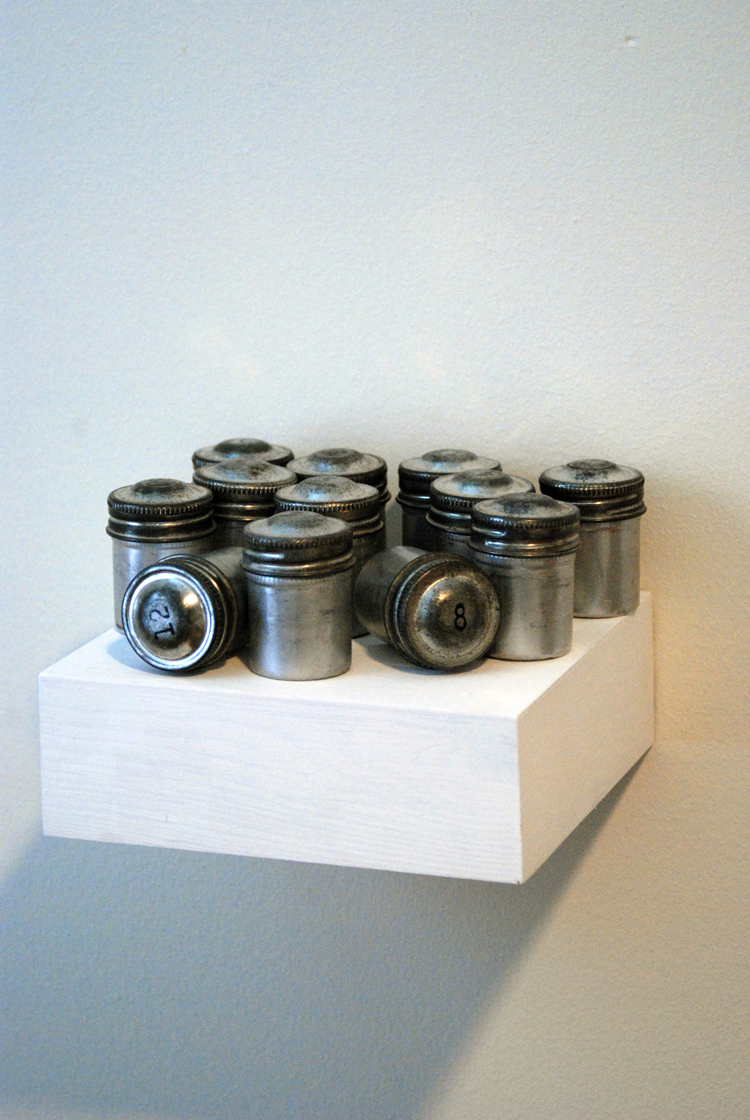 A Dozen Rolls of Film Documenting a Dozen Roses Dying Over a Dozen Days, 2009 (Exposed Film, Stamped Metal Canisters)