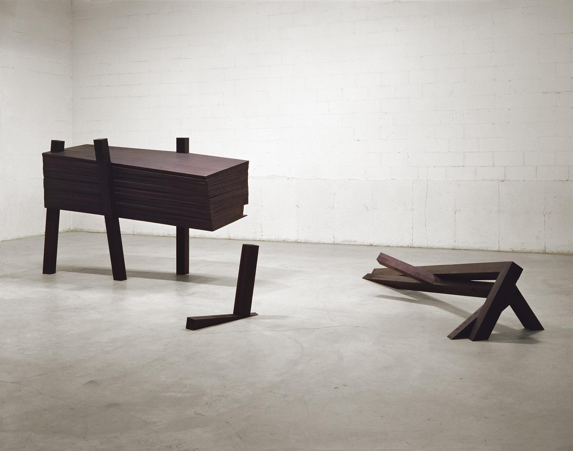 La nuit, devant soi (1992 - 1993)   Bois polychrome, 155,6 x 304 x 670 cm, collection du Musée d'art contemporain de Montréal.photo : Richard-Max Tremblay