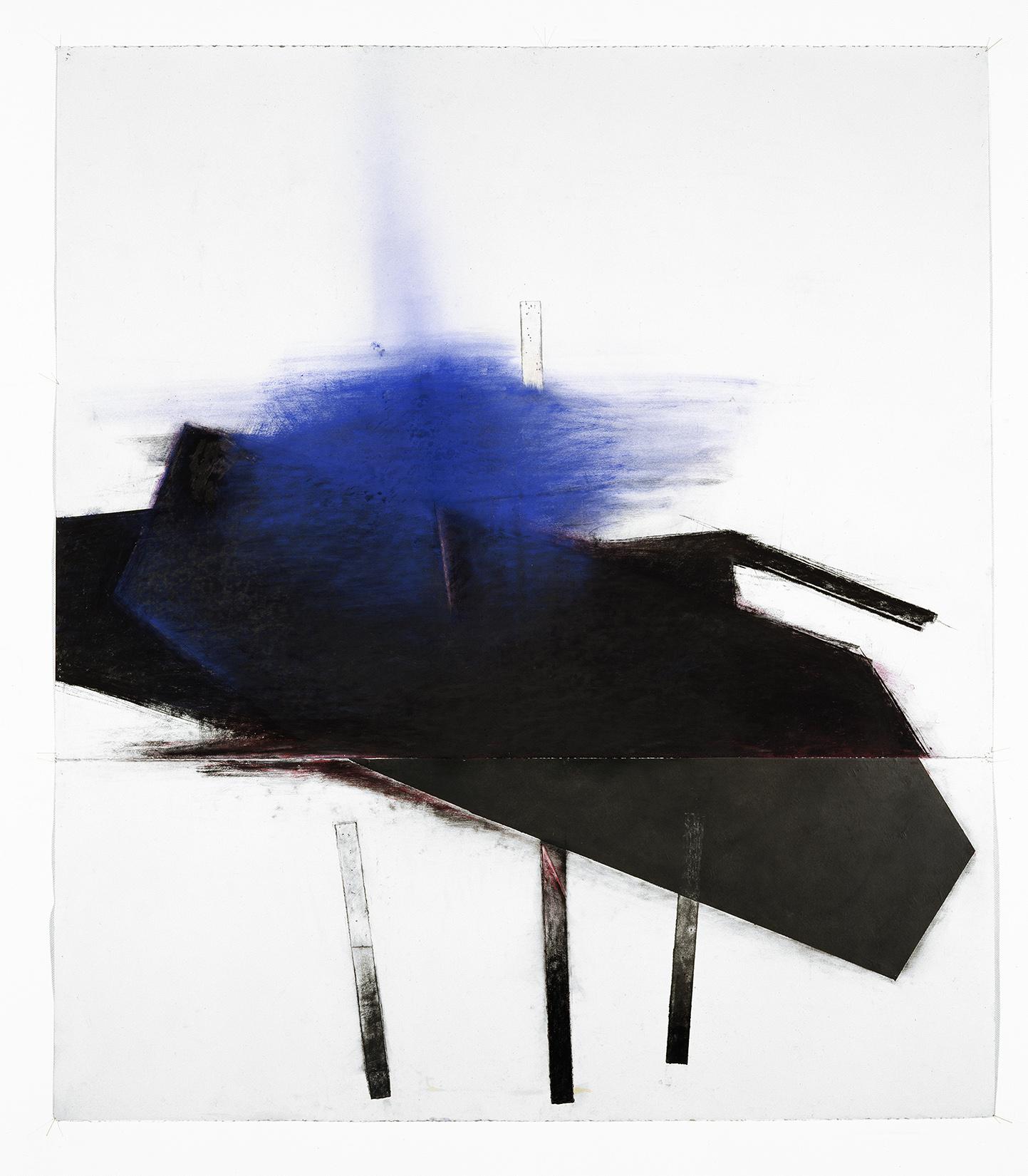 Noche Oscura II  (1992)   Techniques mixes et papier collé sur papier Stonehenge, 145.5 x 127 cm, collection privée. photo : Richard-Max Tremblay