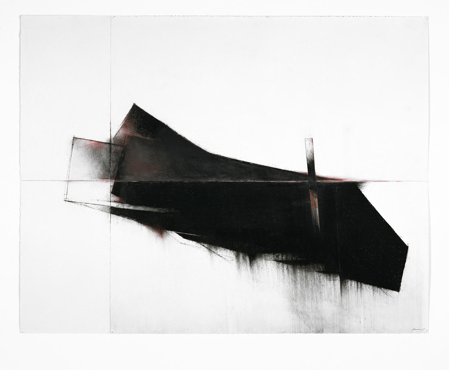 Seuils III  (1997)   Techniques mixes et papier collé sur papier Stonehenge, 126.6 x 211 cm, collection privée. photo : Richard-Max Tremblay