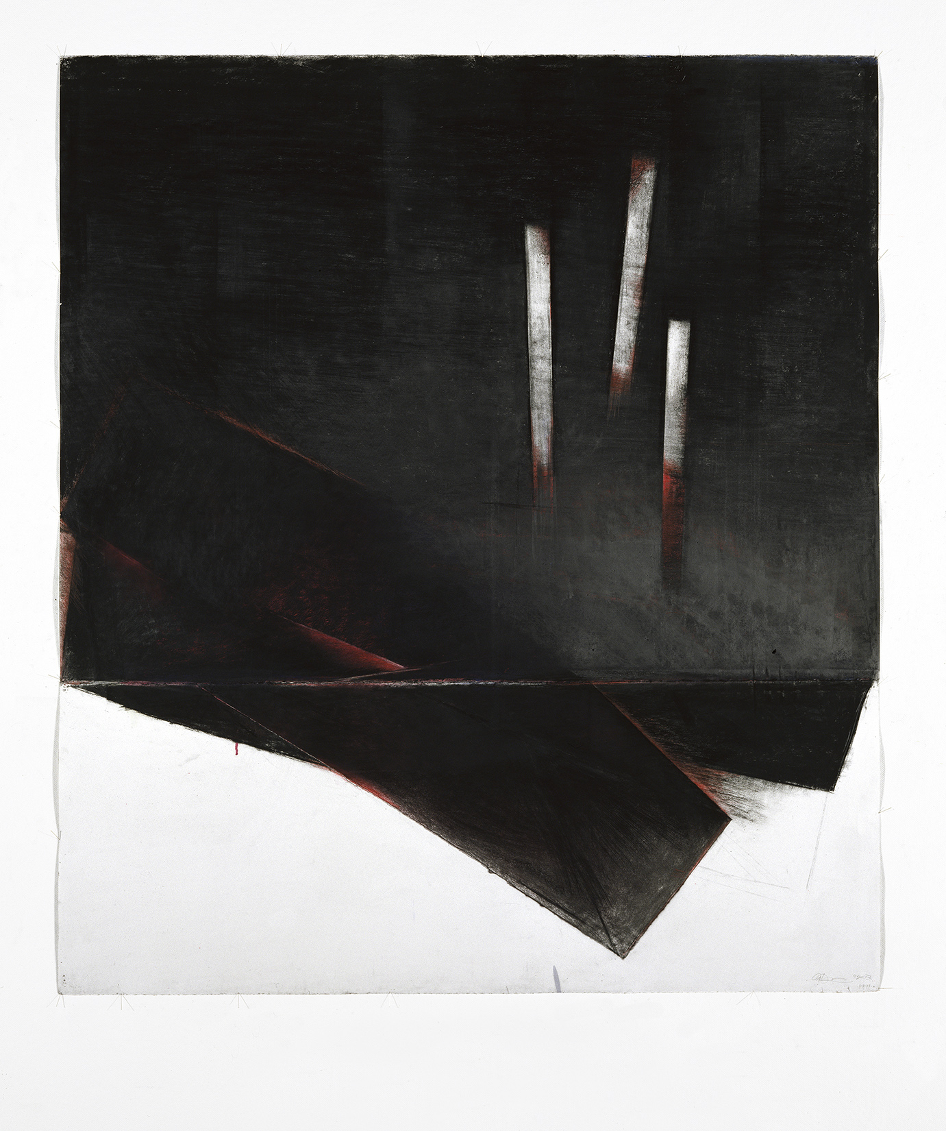 Sans titre  (1997)   Techniques mixes et papier collé sur papier Stonehenge, 128.4 x 145 cm, collection de l'artiste. photo : Richard-Max Tremblay