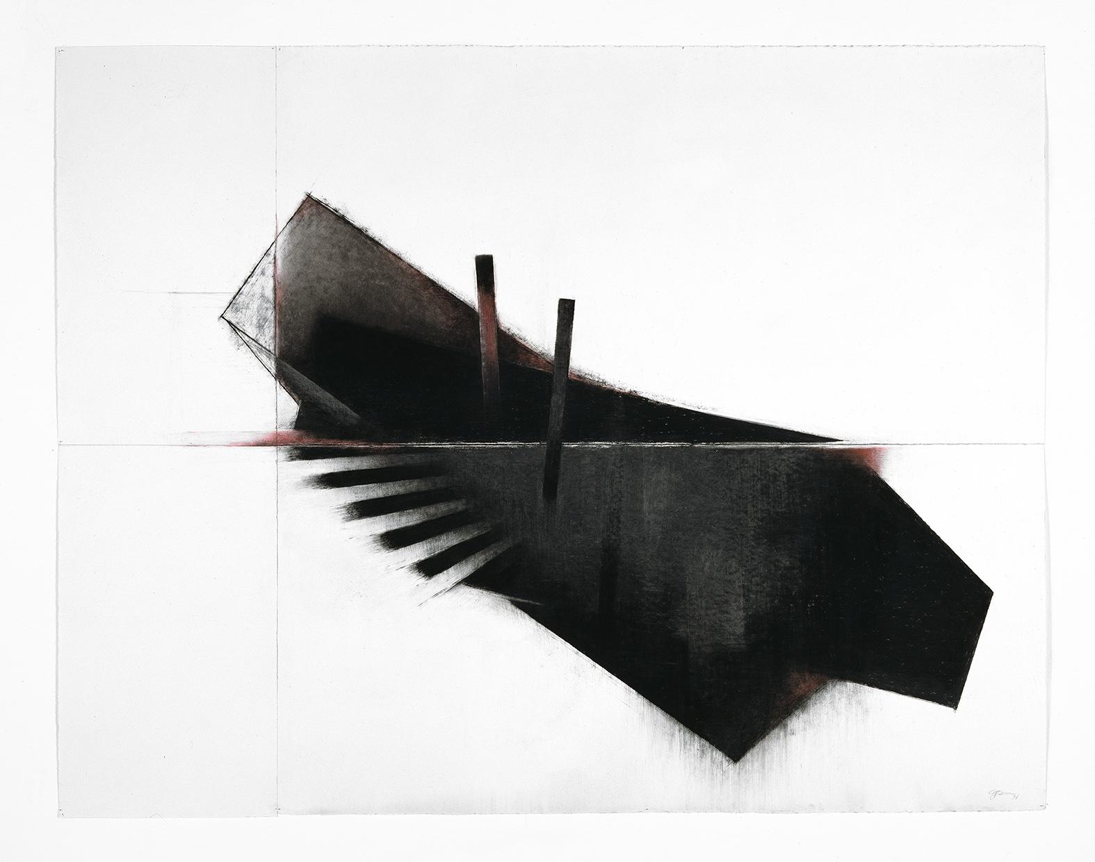 Seuils X  (1998)   Techniques mixes et papier collé sur papier Stonehenge, 126.6 x 211 cm, collection du Musée d'art contemporain de Montréal. photo : Richard-Max Tremblay