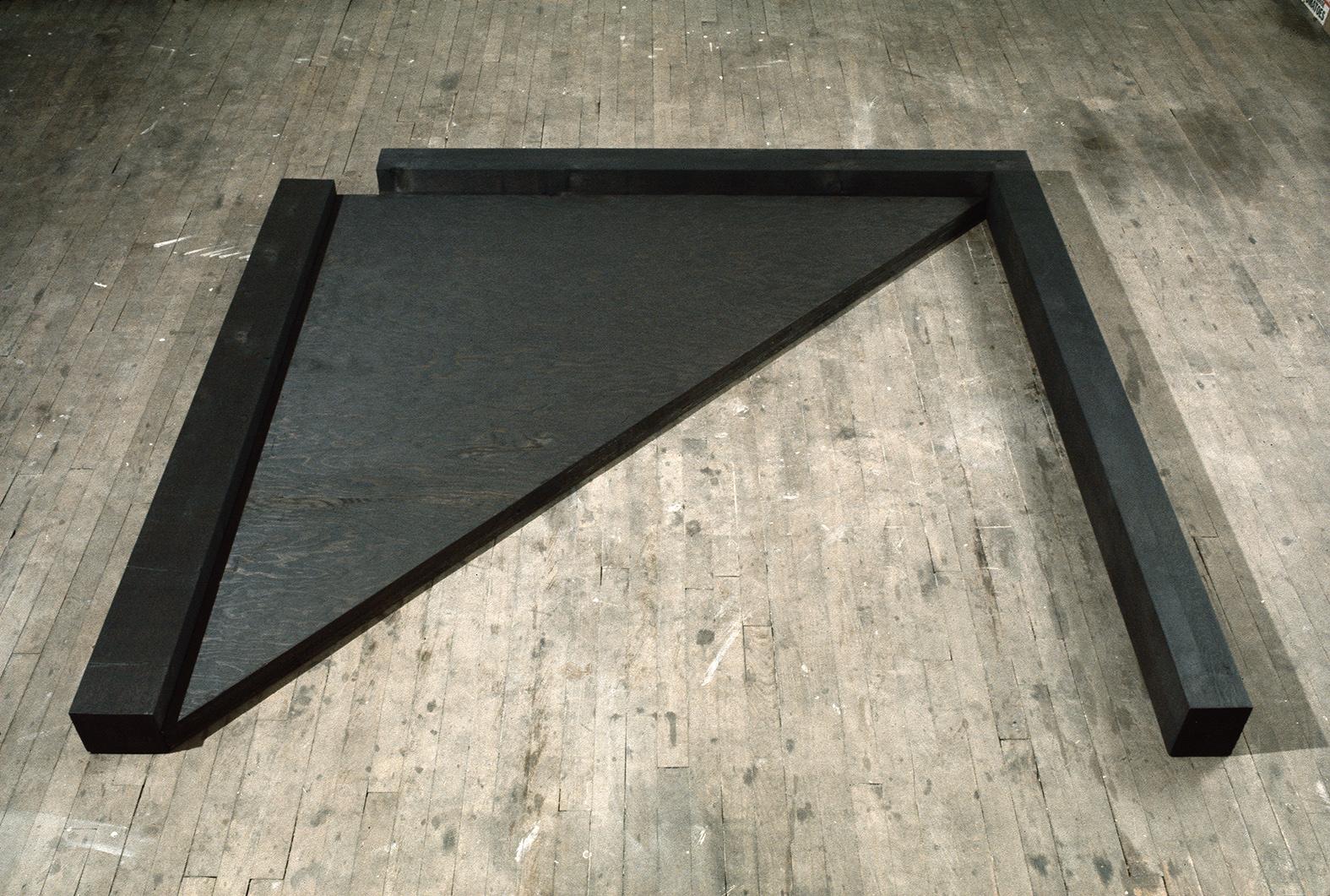 Diagonale  (1977)   Contreplaqué, cèdre, 15.2 x 193 x 208,2 cm, collection privée. photo : G. Szilasi