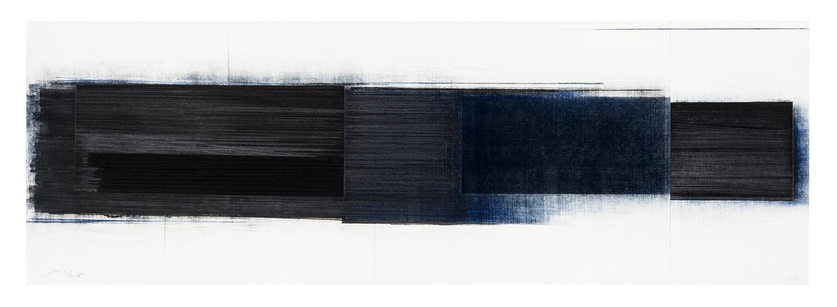 Séquence I  (2018)   Fusain, graphite et pastel sur papier, 32 x 101 cm, collection de l'artiste. photo : Richard-Max Tremblay