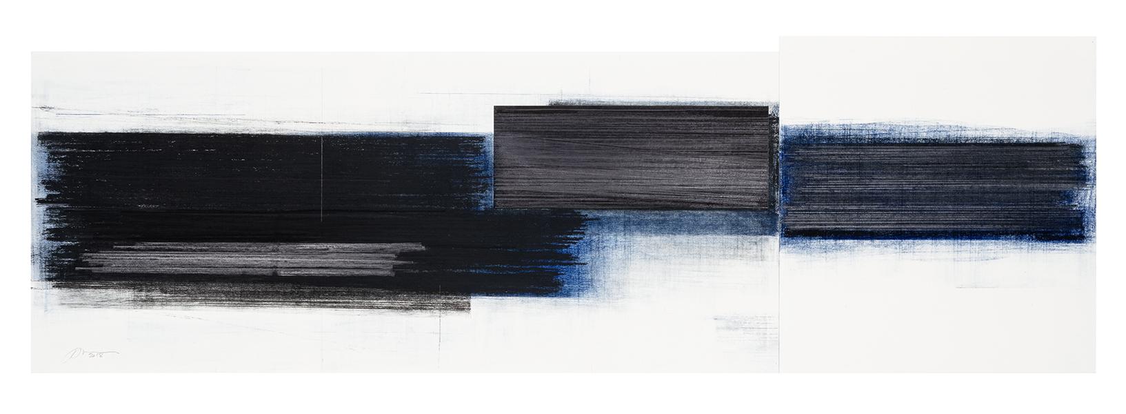 Séquence II  (2018)   Fusain, graphite et pastel sur papier, 29,5 x 88,5 cm, collection de l'artiste. photo : Richard-Max Tremblay
