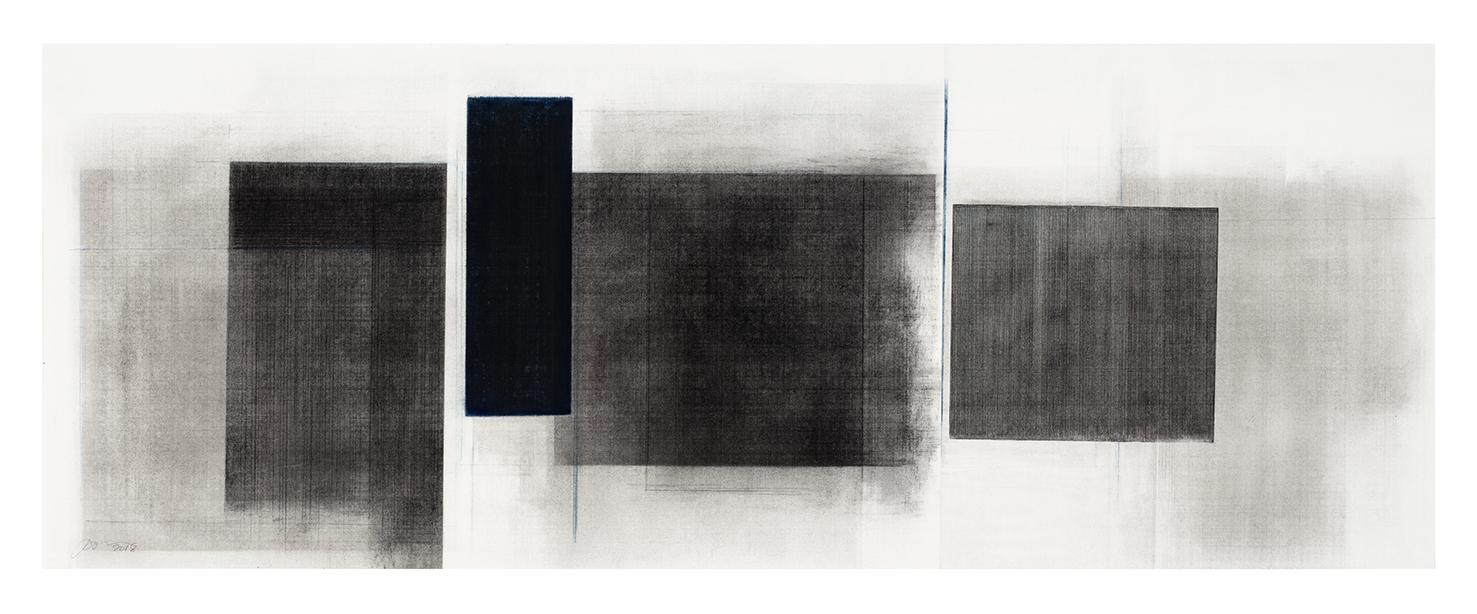Séquence III  (2018)   Fusain, graphite et pigments sur papier, 43 x 112 cm, collection de l'artiste. photo : Richard-Max Tremblay