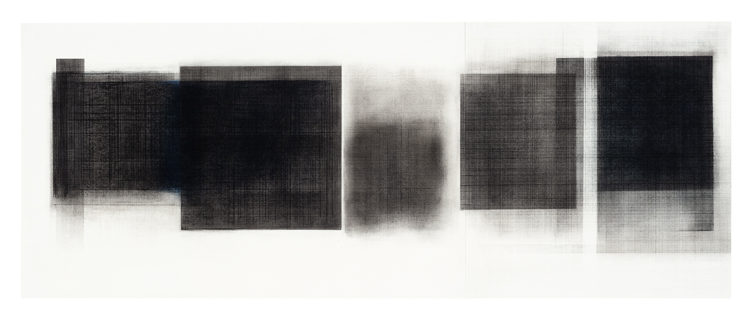 Séquence IV  (2018)   Fusain, graphite et pigments sur papier, 43 x 111,5 cm, collection de l'artiste. photo : Richard-Max Tremblay