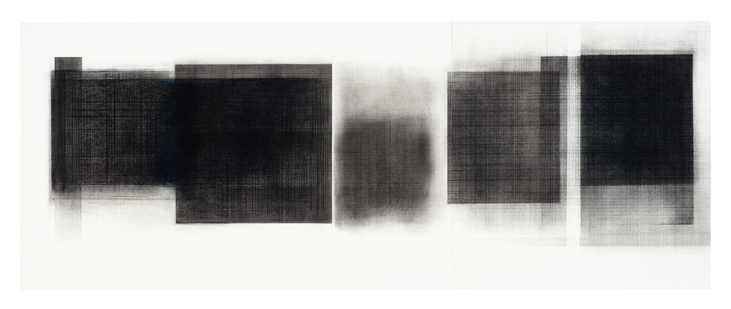 Séquence IV  (2018)   Fusain, graphite et pigments sur papier, 43 x 111,5 cm, collection de l'artiste. photo : Richard-Max Tremblay