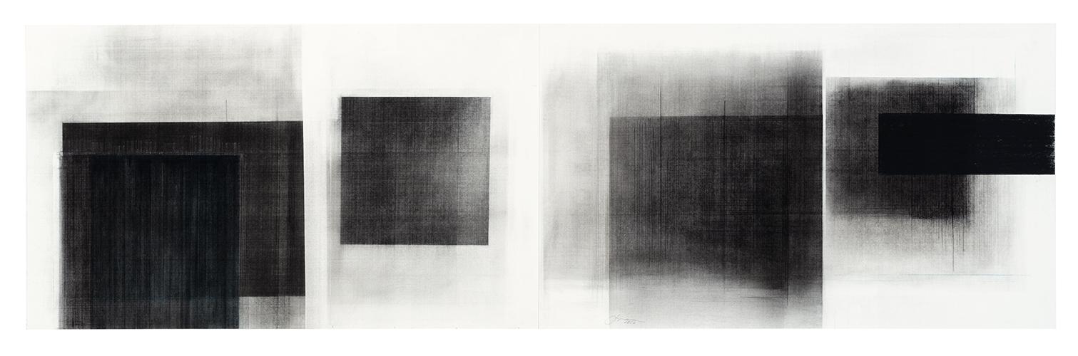 Séquence V  (2018)   Fusain, graphite et pigments sur papier, 43 x 146 cm, collection de l'artiste. photo : Richard-Max Tremblay