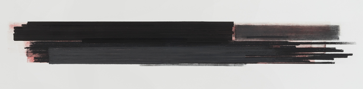 Stratification #25  (2015)   Pastel, fusain, graphite et pigment à l'huile, 25.4 x 91.4 cm, collection privée.