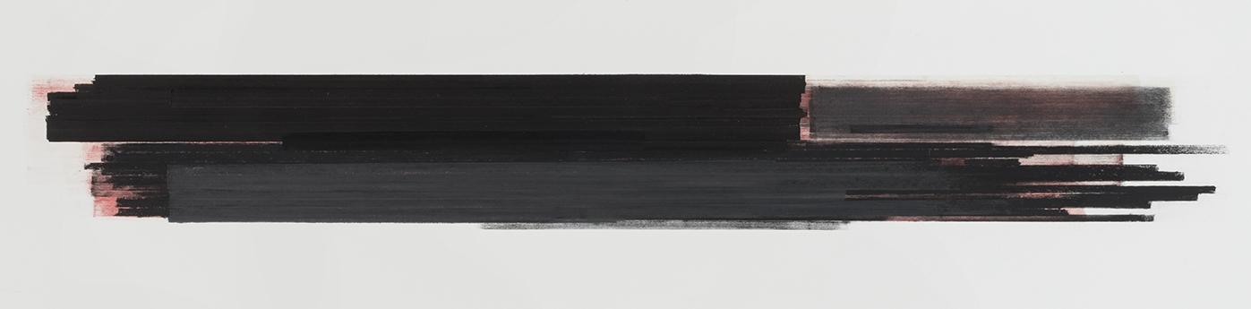 Stratification #25  (2015)   Pastel, fusain, graphite et pigment à l'huile, 25.4 x 91.4 cm, collection privée.