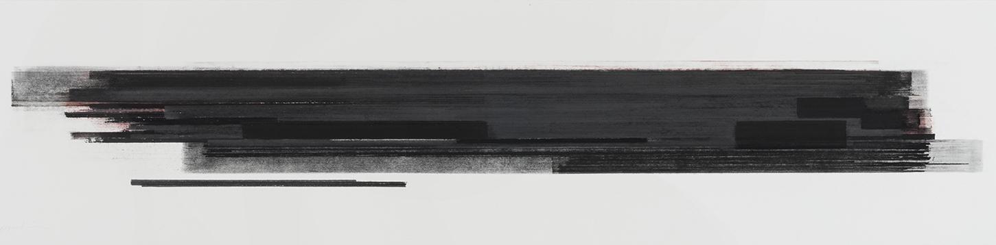 Stratification #28  (2015)   Pastel, fusain, graphite et pigment à l'huile,25.4 x 91.4 cm, collection de l'artiste
