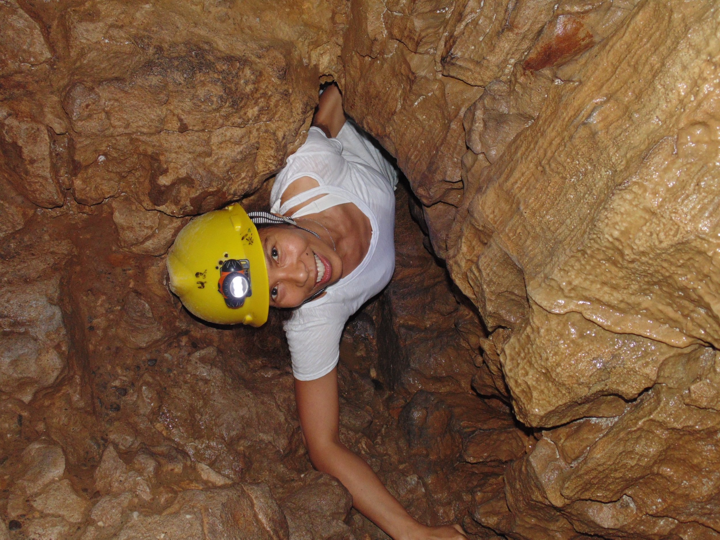Patricia exploring the Venado Caves in Costa Rica, a limestone labyrinth that extends for almost 3 km.