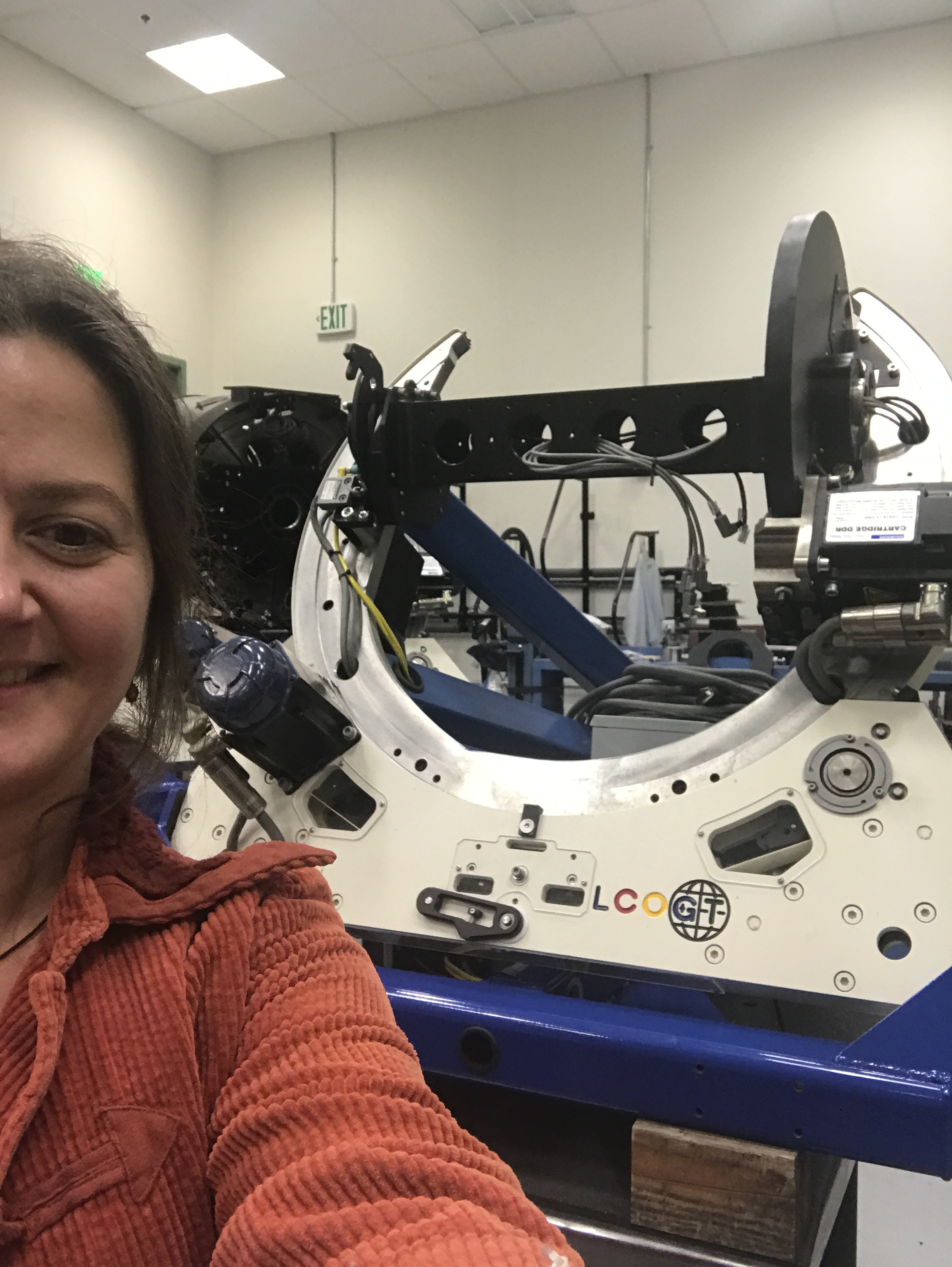In December Tabby visited the Las Cumbres Observatory (LCO)headquarters in Santa Barbara. When she was there she got a tour of the facility where they build both the telescopes and instrumentation for the robotic network. This shot shows the telescope mount for one of the telescopes that will be deployed over the next year.