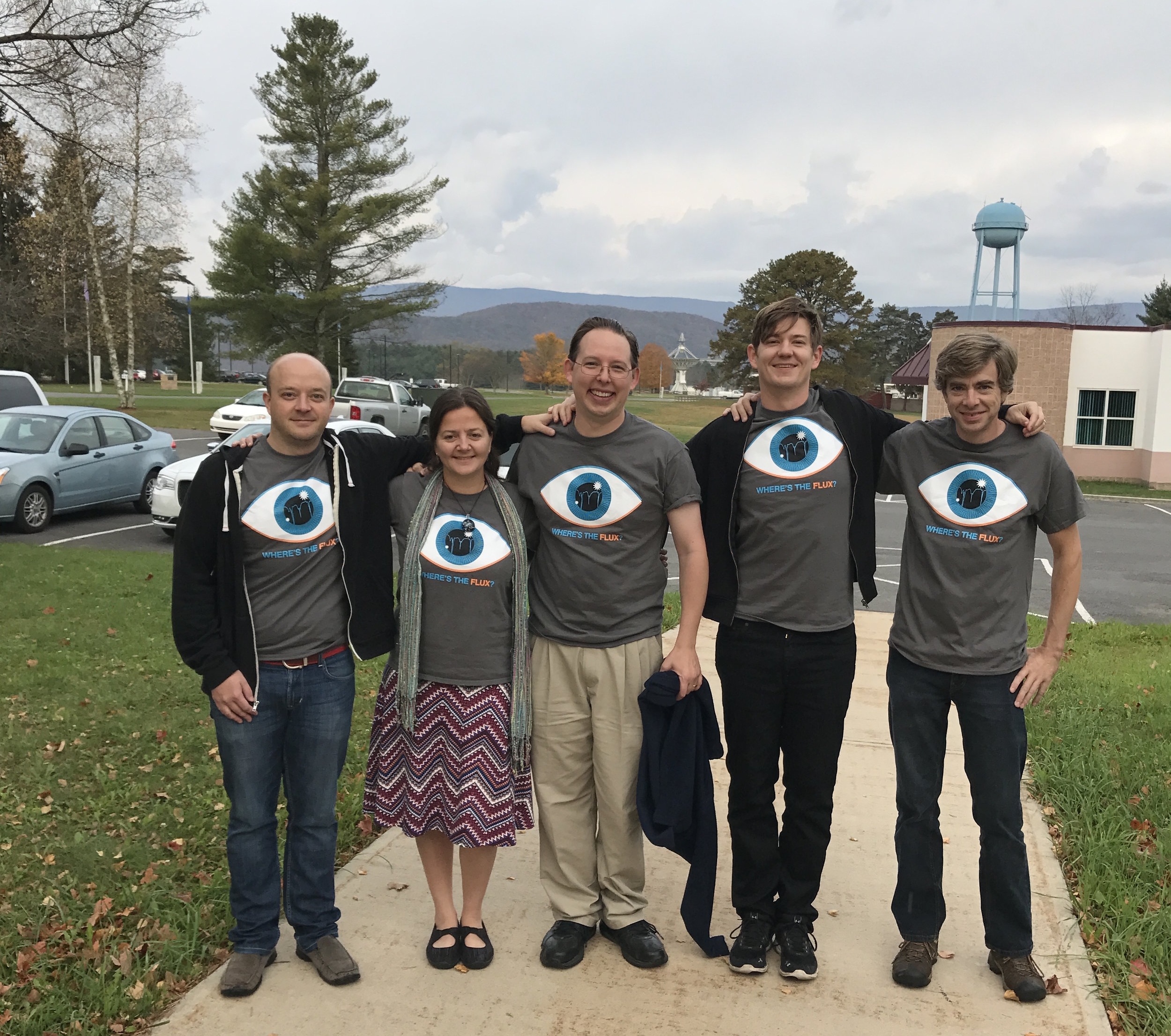 """After a night of observing (i.e. """"alien hunting"""") at the Green Bank Observatory.Left to right: Drs Andrew Siemion, Tabby Boyajian, Jason Wright, Danny Price, Dave Macmahon."""