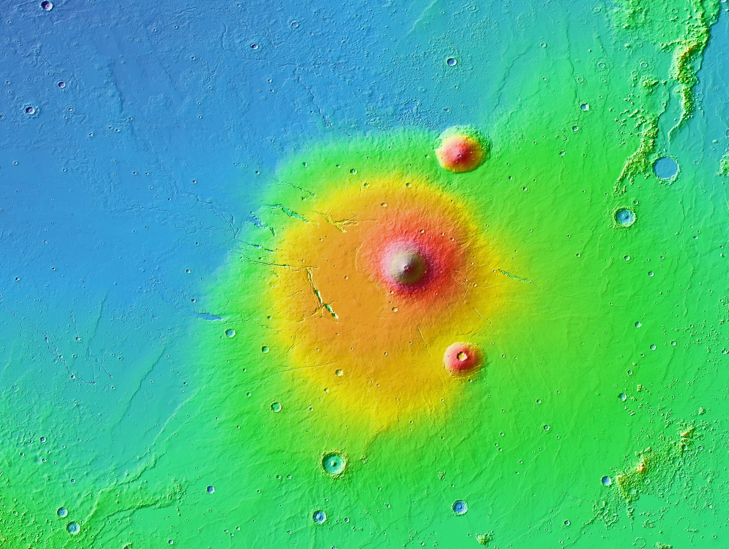 A colorized topographic map of the volcanic province Elysium,with its surroundings, from the Mars Orbiter Laser Altimeter (MOLA) instrument of the Mars Global Surveyor spacecraft. Image credit:NASA / JPL-Caltech / Arizona State University.