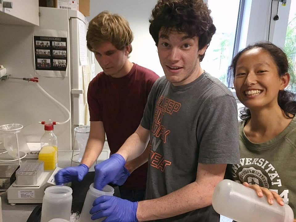 Josh prepares to purify protein from yeast during his research internship in Germany.