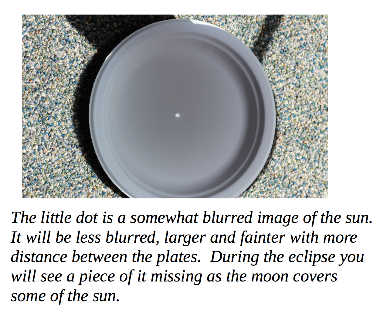 Photo of the sun projected onto a paper plate. Learn more at  http://laspace.lsu.edu/teacheclipse/safe-viewing/
