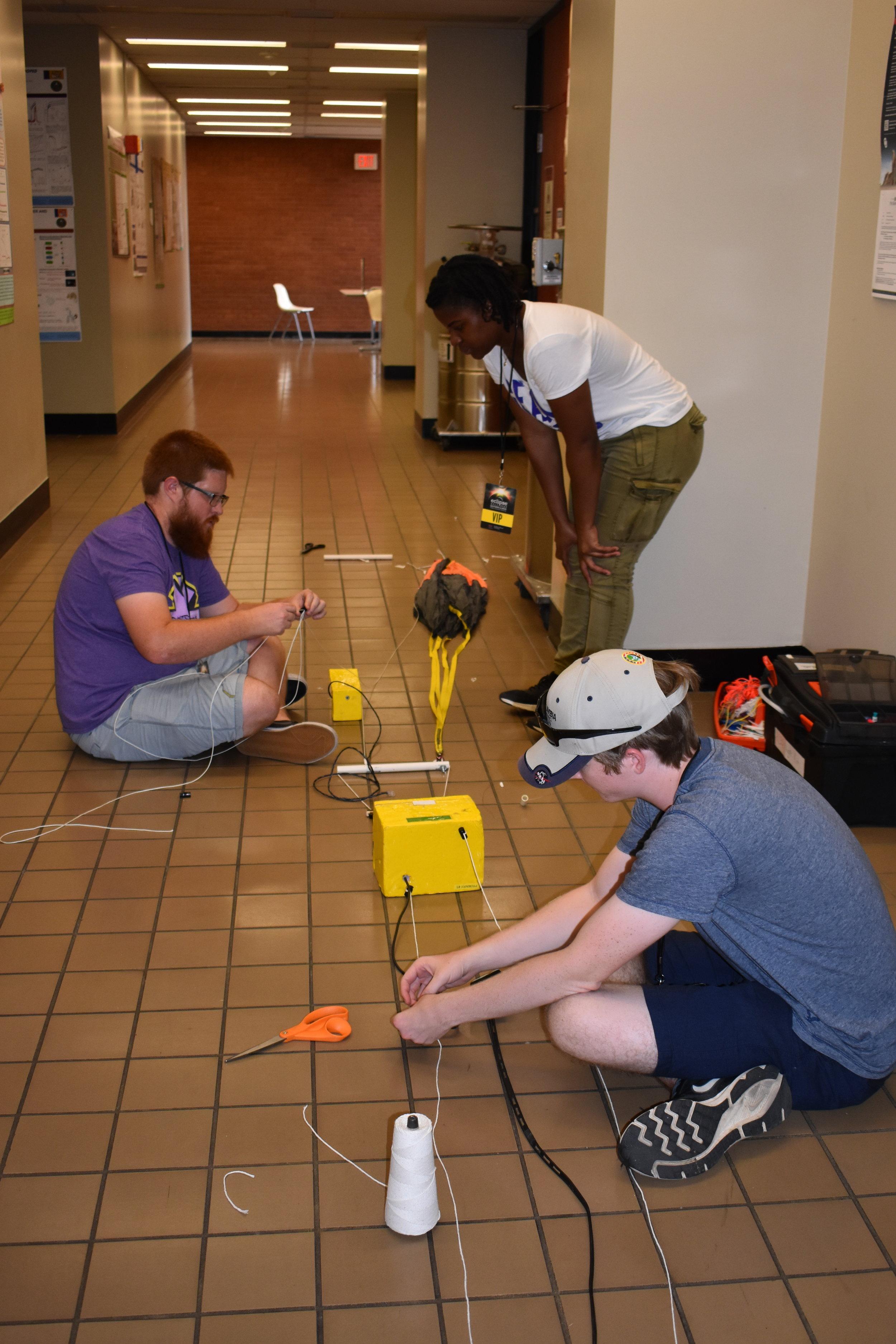 Students prepare flight string