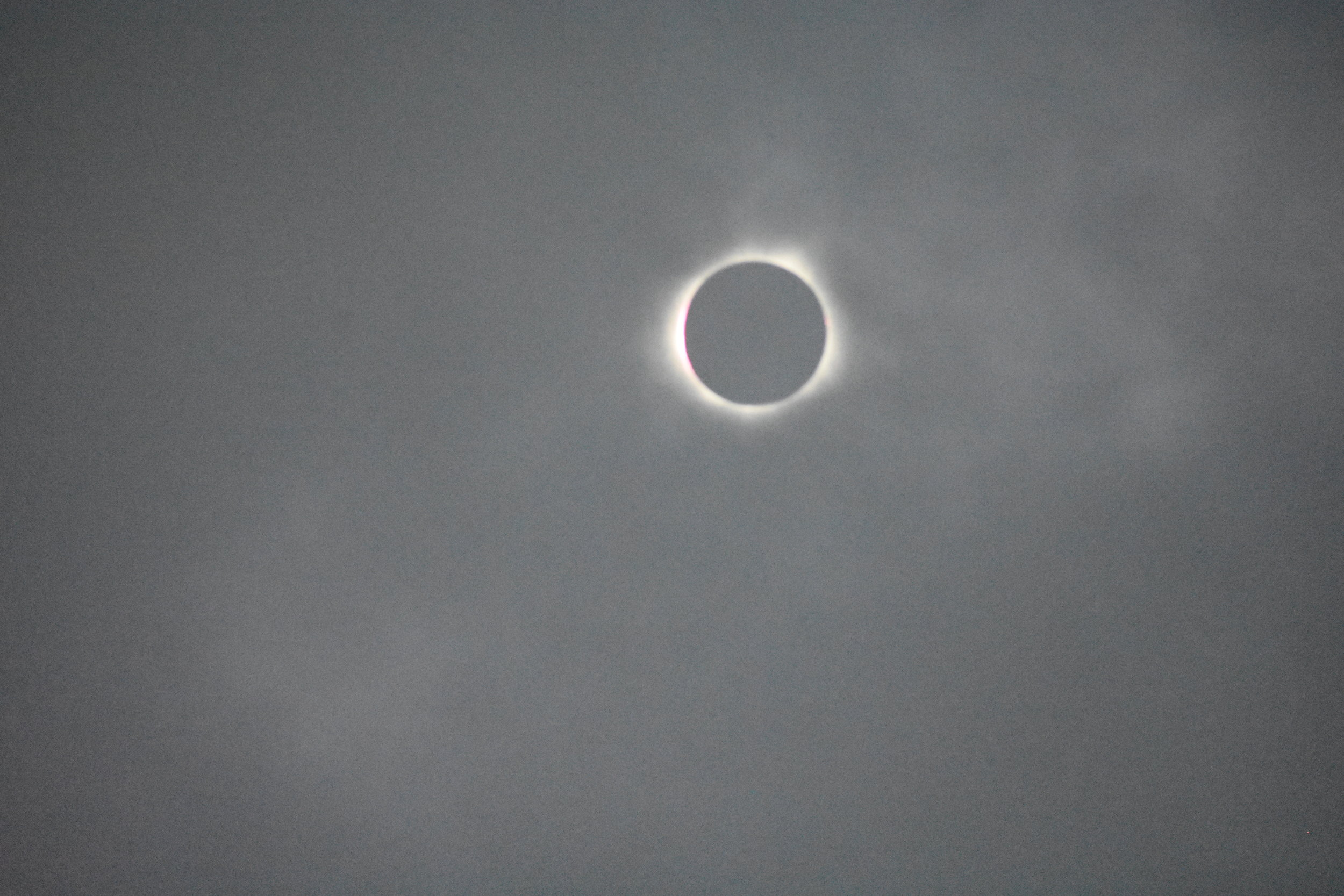 Diamond ring at the start of totality observed in Carbondale, IL. Shot with a Nikon D3400 camera. Image is gray and grainy due to the clouds.Credit: Nicki Button.