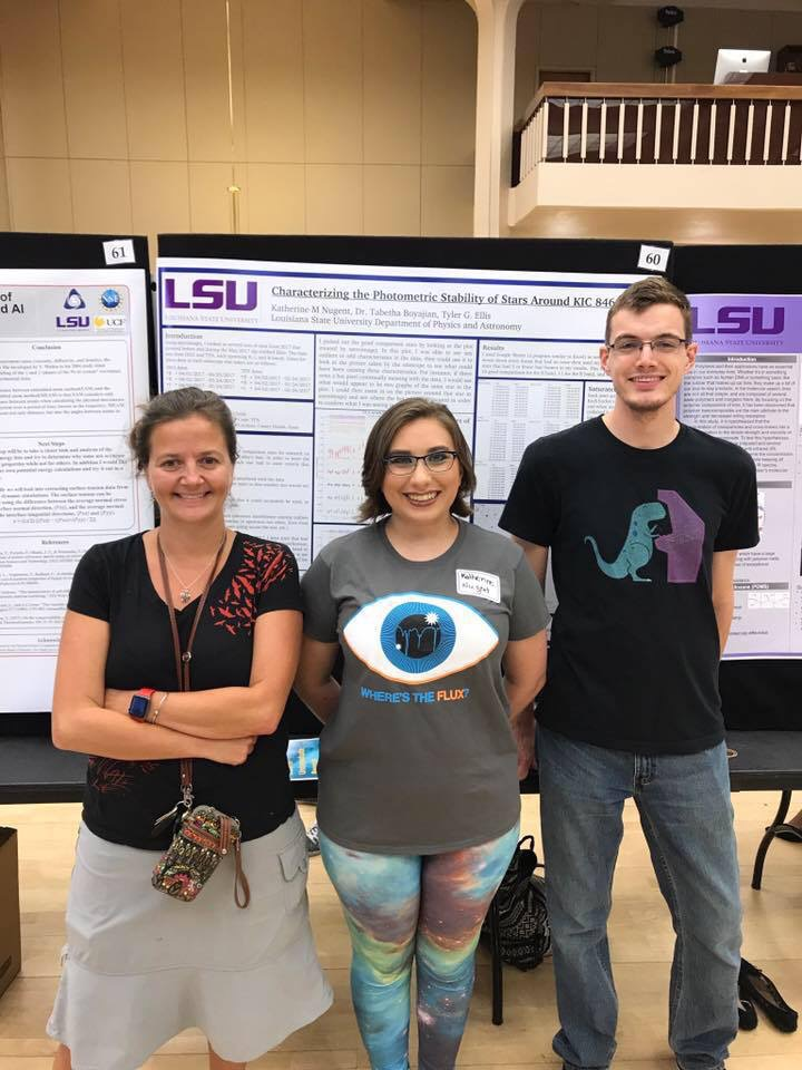 Photo of Katie (middle) with her advisor Tabby Boyajian at LSU SURF 2017.