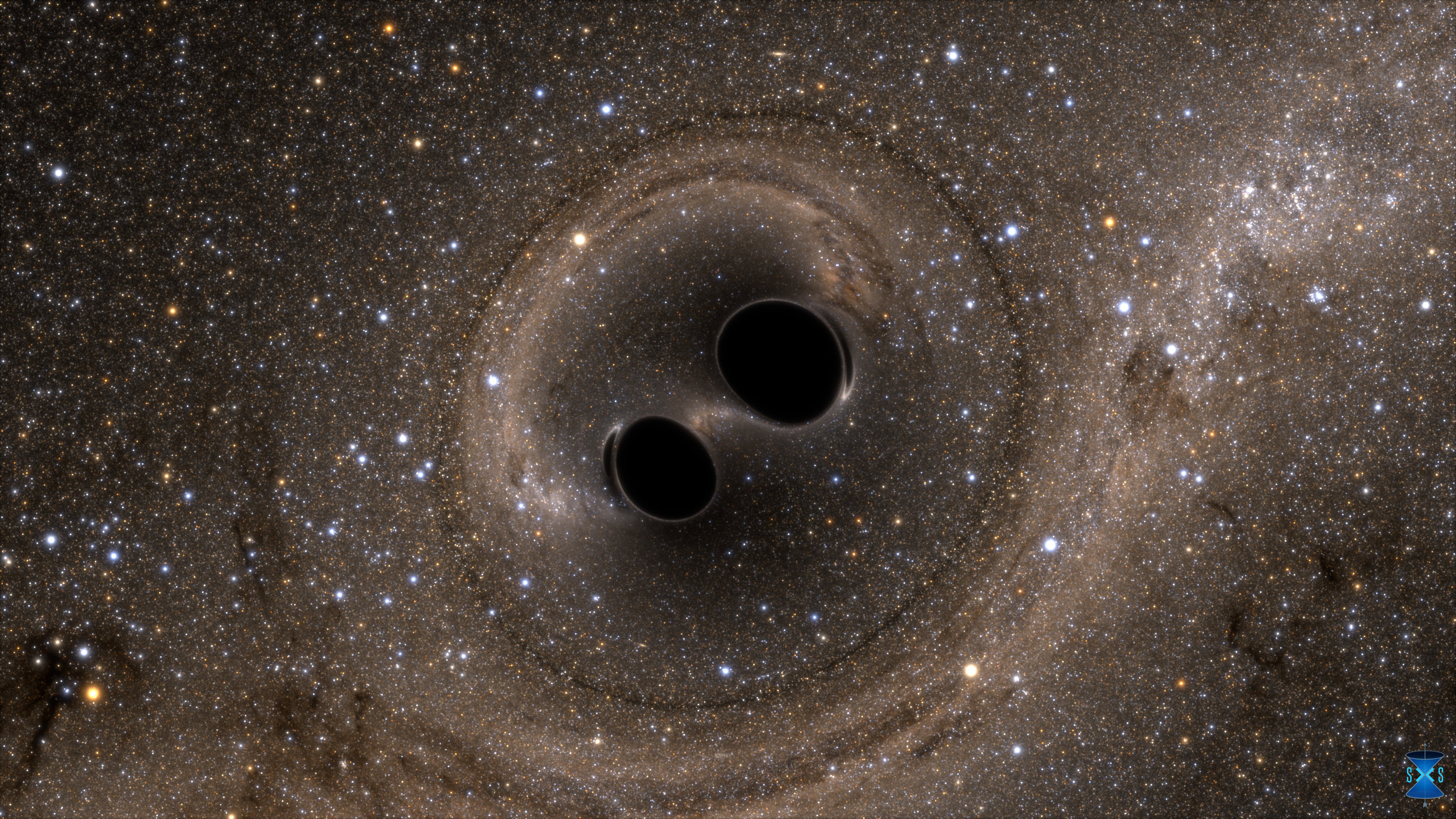 Illustration of two black holes merging into one.Credit:SXS.