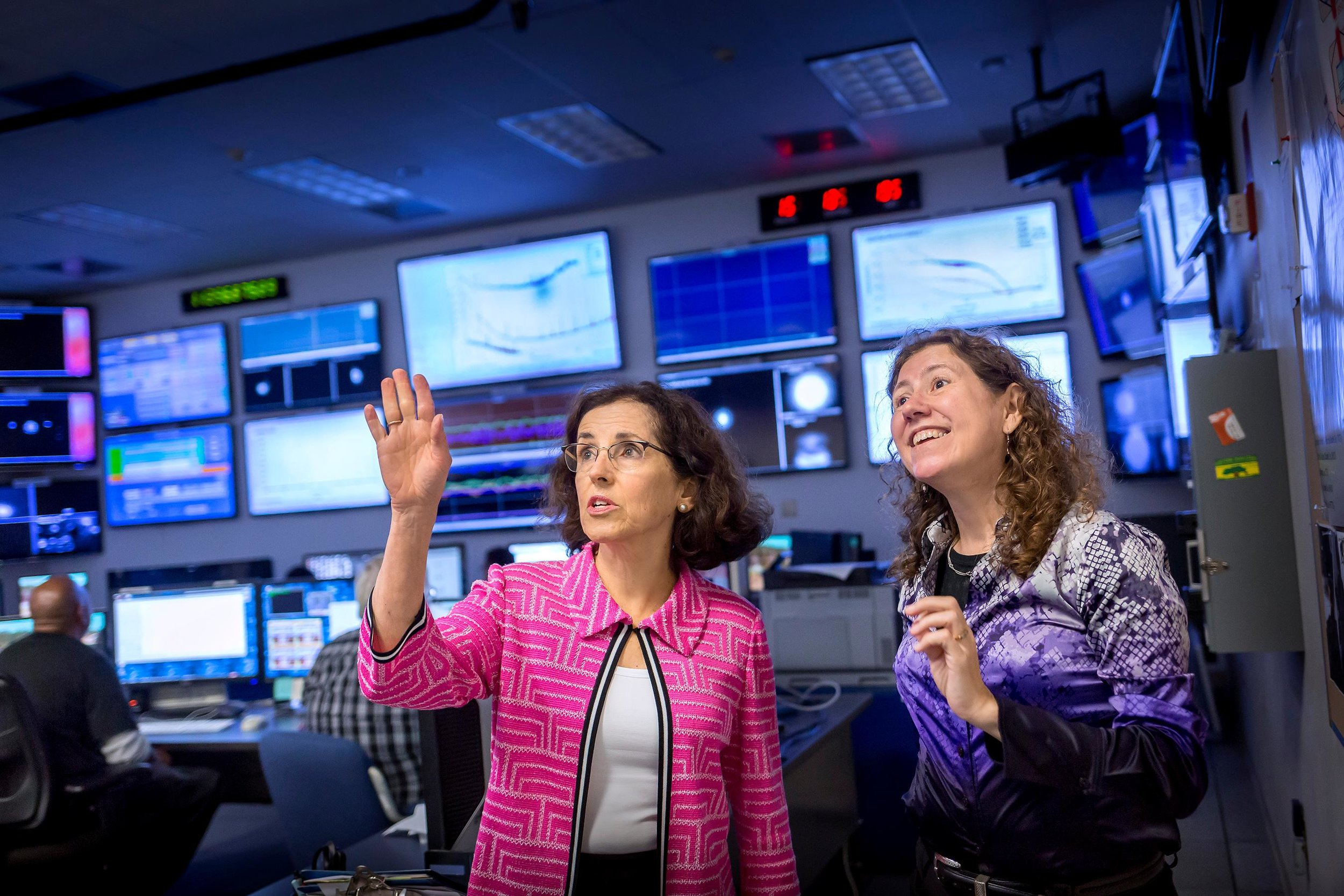 Photo of NSF director France Córdova and Gabriela Gonzalez, former spokesperson for the Laser Interferometer Gravitational-Wave Observatory (LIGO) Scientific Collaboration, at the LIGO facility in Livingston, Louisiana. Credit: Eduardo M. Perez/Louisiana State University