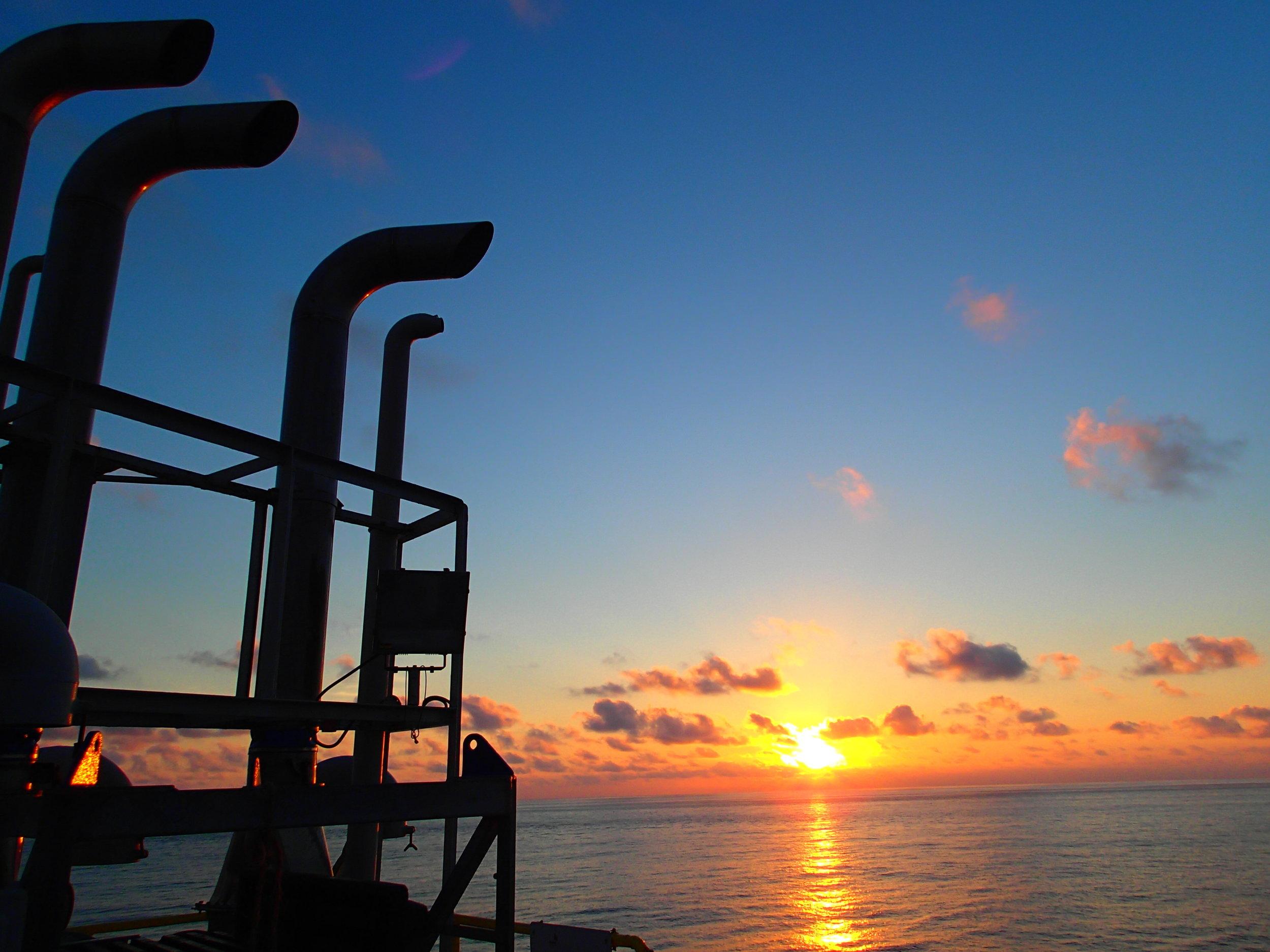 Sunrise view on Joides Resolution. Photo credit: Sandra Herrmann, IODP.