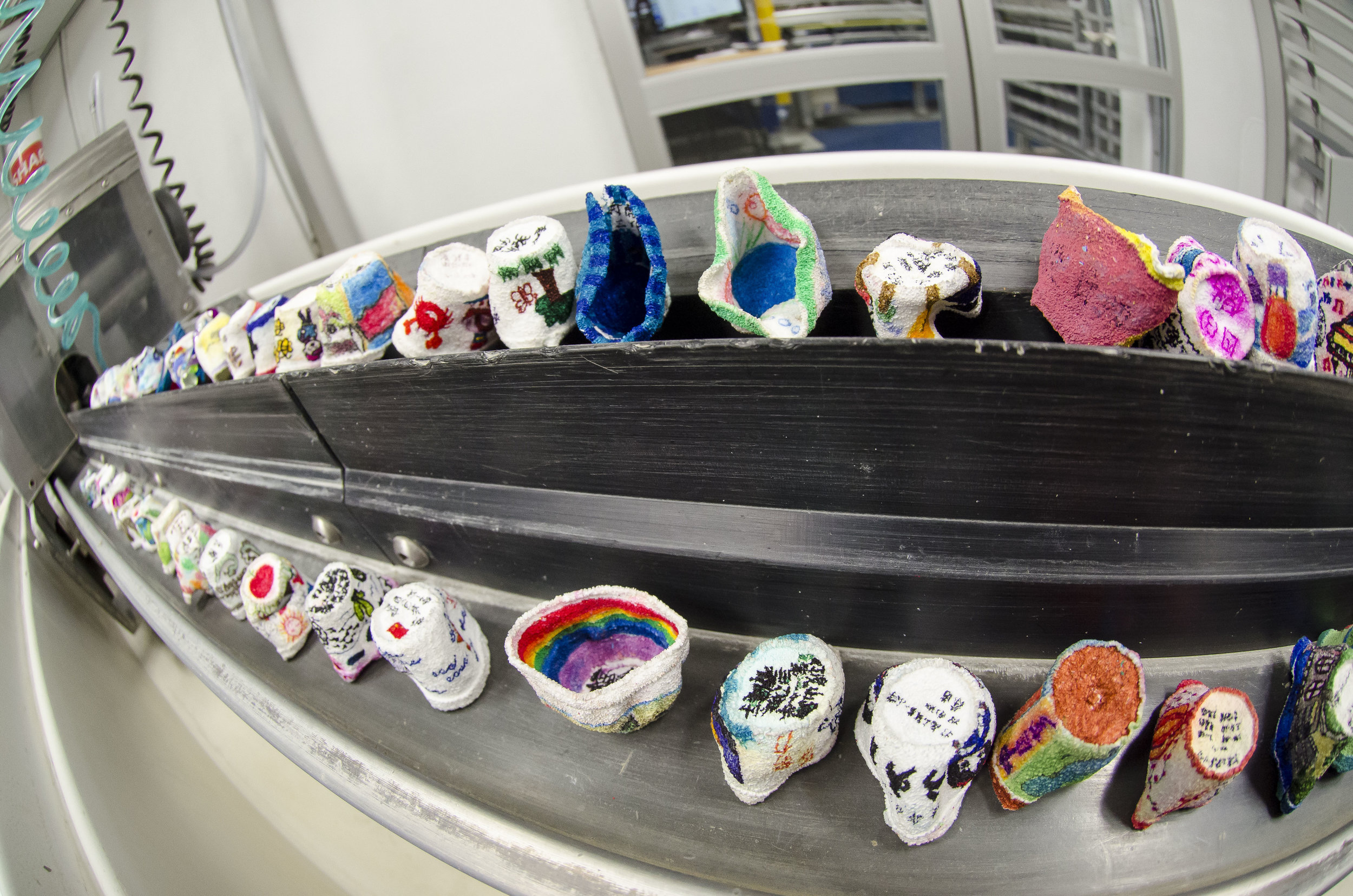 Foam cups shrank after being transported to the seafloor. Photo credit: Tim Fulton, IODP.