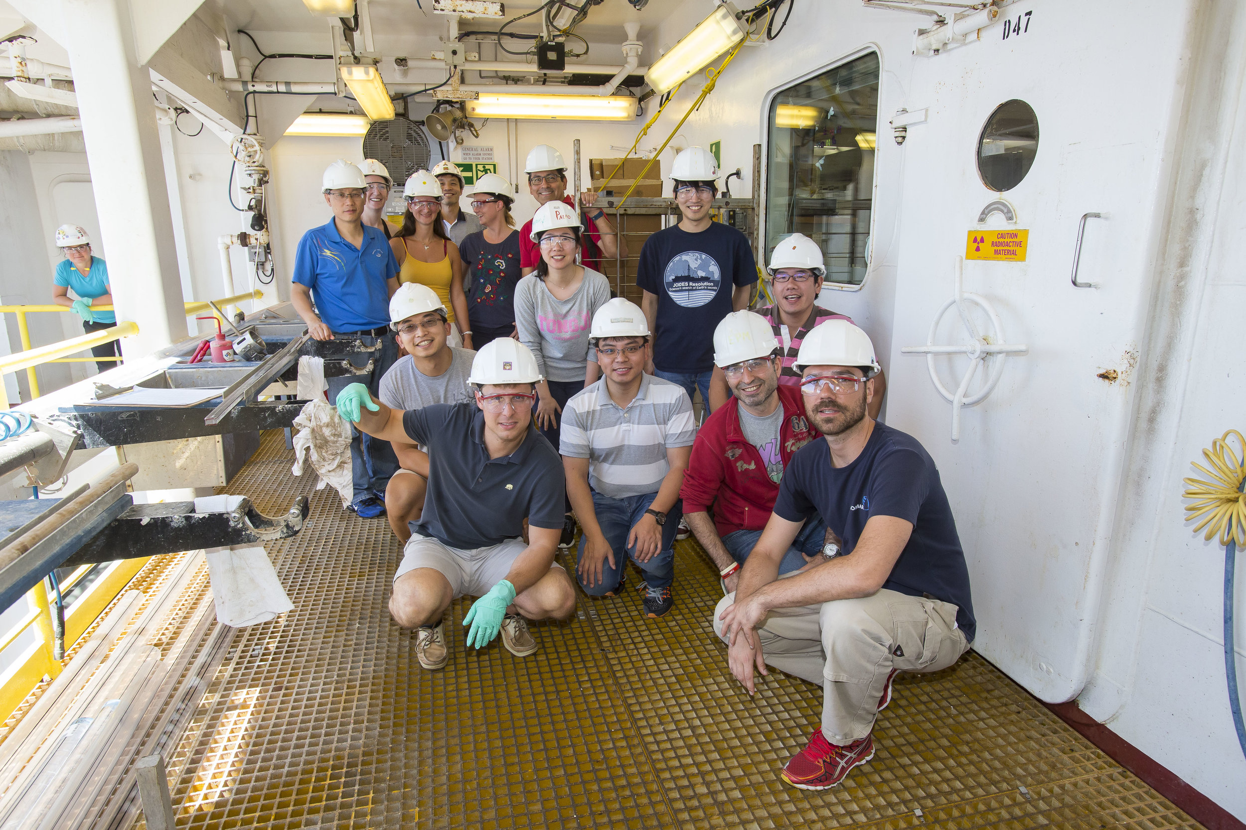 Some of the scientists onboard the Joides Resolution. Photo credit: Tim Fulton, IODP.