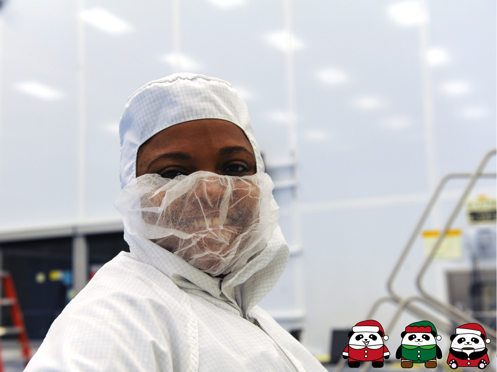Dr. Kamili Shaw in clean room dress for inspections during the NASA Magnetospheric Multiscale Mission, a project to study Earth's magnetic field. Learn more at  https://mms.gsfc.nasa.gov/ .
